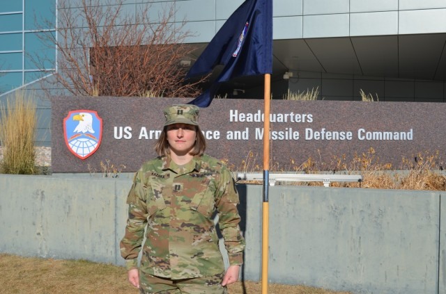 Capt. Shawnee Kazaka takes command of the U.S. Army Satellite Operations Brigade's newly established Headquarters and Headquarters Company, Satellite Communications Directorate, Dec. 11, 2020, at the U.S. Army Space and Missile Defense Command's headquarters on Peterson Air Force Base, Colorado.  (U.S. Army photo)
