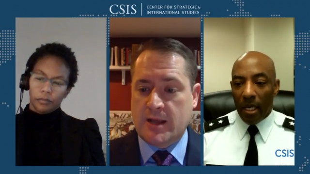 From left, Nicole Thomas, division chief for strategy and policy for the Joint Counter-Small Unmanned Aircraft Systems Office; Tom Karako, a senior fellow at the Center for Strategic and International Studies; and Maj. Gen. Sean Gainey, JCO director, discuss the Defense Department's new Counter-sUAS strategy on Jan. 8, 2021.
