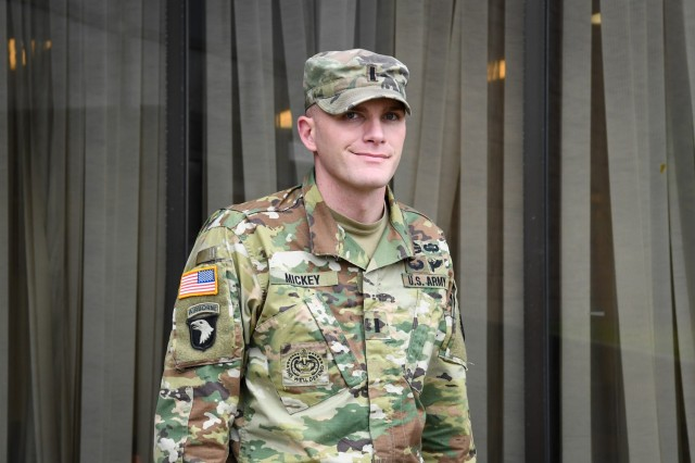 Once a homeless teenager, 1st. Lt. Matthew Mickey is now an executive officer for U.S. Army Recruiting Command's Bronx Recruiting Company in New York City. (U.S. Army photo by Lara Poirrier)