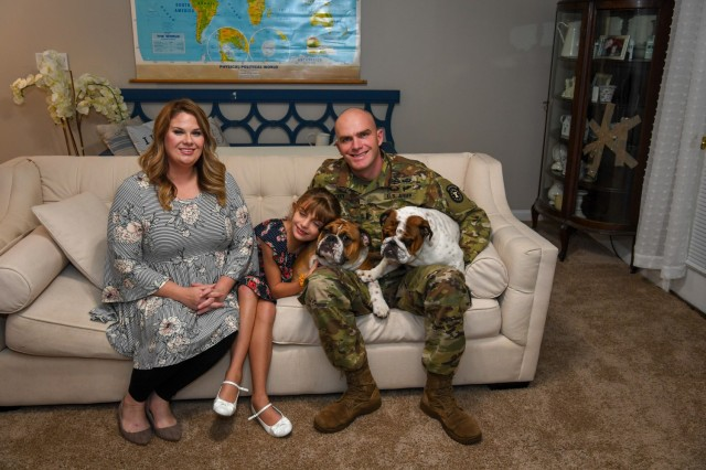 1st Lt. Matthew Mickey lives in New York City with his wife, Denise, his 9-year-old daughter, Lily, and two English bulldogs. Mickey is assigned to the New York City Recruiting Battalion, 1st Army Recruiting Brigade.  (U.S. Army photo by Lara Poirrier)