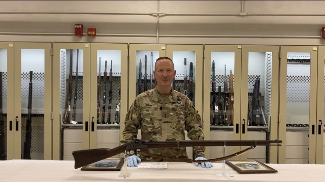 Maj. Gen. Kurt Ryan, Deputy Chief of Staff, G-4 (Logistics), U.S. Army Forces Command (FORSCOM) and 39th Chief of Ordnance highlights the evolution of the Model 1863 Allin Converted Musket in the video series - Ordnance TSF: An Inside Look. The musket was donated to the facility by Maj. Gen. Ryan's mother-in-law.
