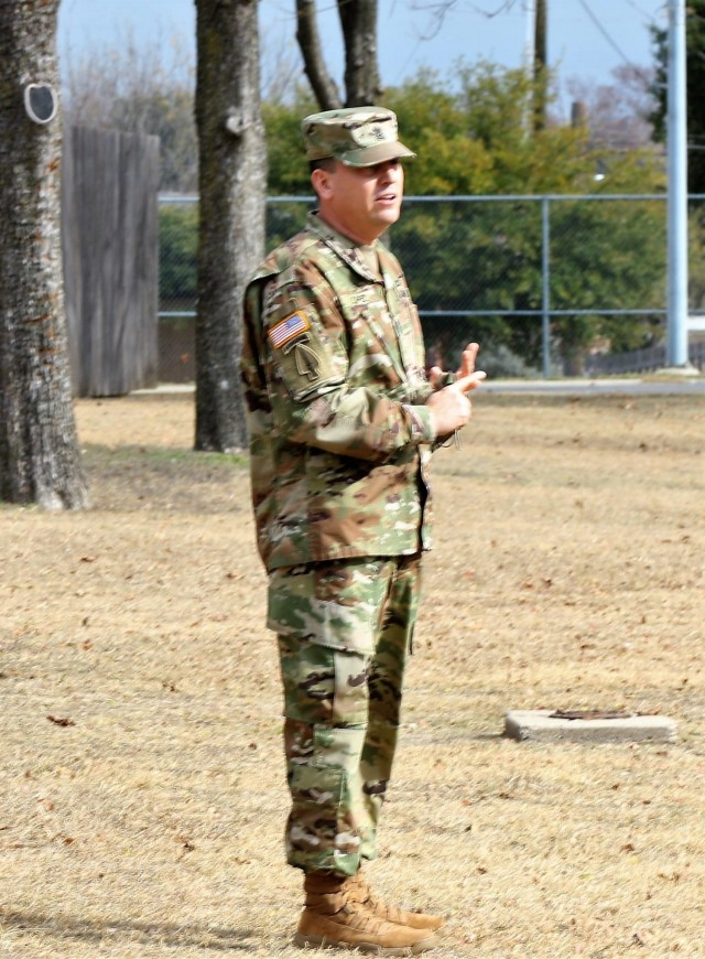 U.S. Army Command Sgt. Maj. Michael Lopez, senior enlisted advisor for 3-312th Training Support Battalion, Fort Meade, Maryland, addresses Soldiers form the unit commending them on their hard work and effort during the mobilization process and achieving mission readiness December 18 at Fort Hood, Texas. The unit is on a yearlong assignment to Fort Hood in support of operations for First Army Division West, 120th Infantry Brigade. (U.S. Army Reserve Photo Staff Sgt. Erick Yates)