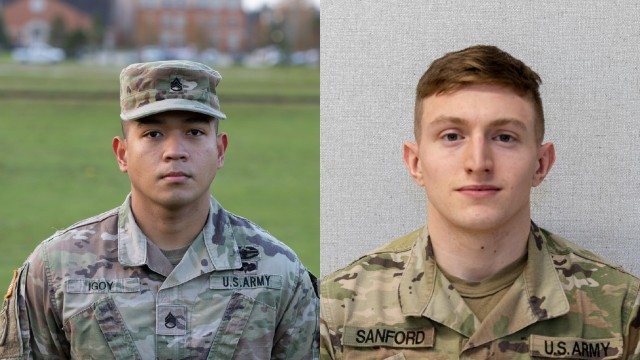 Staff Sgt. Louise Igoy, (left) winner of NCO of the Quarter award (Q4) FY2020 and Spc. Zachary Sanford (right) winner of Soldier of the Quarter award.