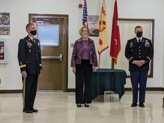 Maj. Gen. Stephen Smith, I Corps deputy commanding general, Patricia Byers, Yakima mayor, and Lt. Col. Luke Wittmer, Yakima Training Center commander, participate in the 2020 Army Community Partnership Award virtual ceremony at Yakima Training Center Jan. 13.