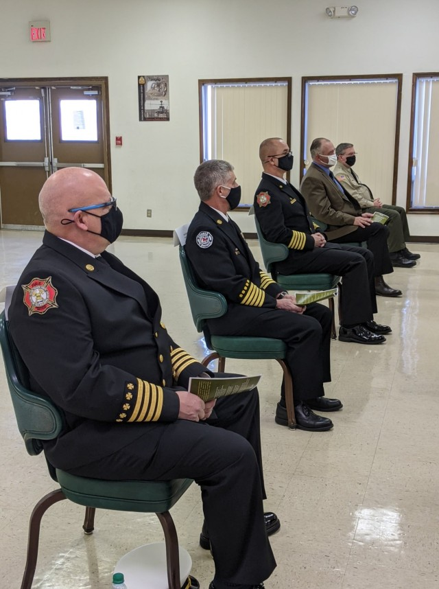 Firefighters and community leaders participate in the 2020 Army Community Partnership Award virtual ceremony at Yakima Training Center Jan. 13.