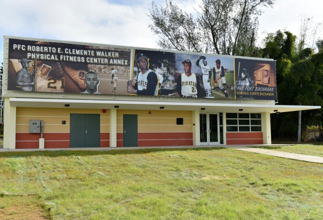 USAG Fort Buchanan conducted a memorialization ceremony of the garrison's Physical Fitness Center Annex January 14, 2021, in honor of US Marine Corps Reserve Private First Class Roberto E. Clemente Walker. The facility's banner depicts images of Roberto Clemente when he joined the US Marine Corps Reserve in September 1958 where he served until September 1964.