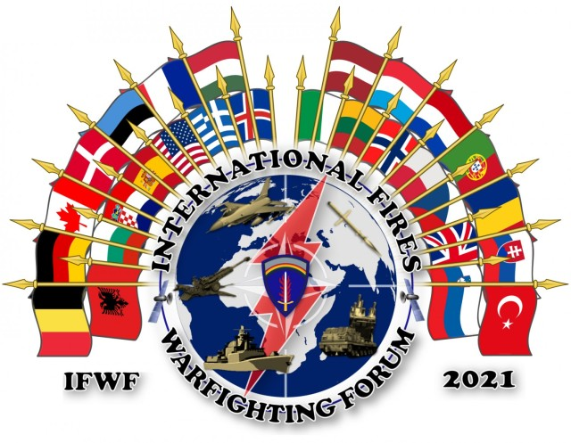 The 6th annual International Fires Warfighter Forum was hosted virtually Jan. 12-14, 2021 by the 41st Field Artillery Brigade and included more than 230 participants from 27 countries across NATO and Europe. (U.S. Army graphic illustration by Maj. Austin J. Harrison)