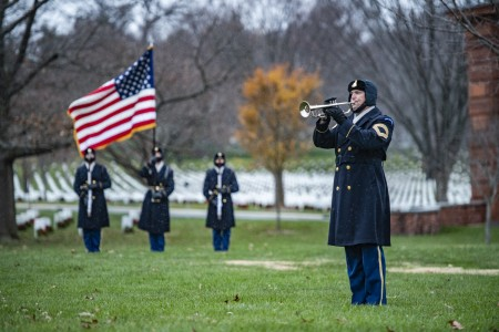 "The 3d U.S. Infantry Regiment (The Old Guard) Caisson Platoon; Soldiers assigned to 1st Battalion, 3d U.S. Infantry Regiment (The Old Guard); and the U.S. Army Band, ""Pershing's Own;"" conduct modified military funeral honors with funeral escort for Medal of Honor Recipient U.S. Army Command Sgt. Maj. Bennie Adkins in Section 12 of Arlington National Cemetery, Arlington, Va., Dec. 16, 2020."