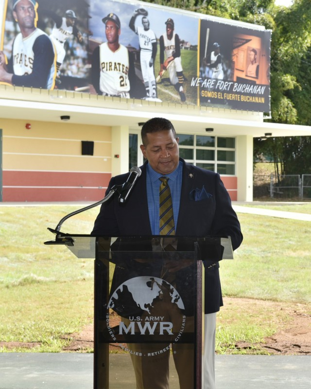 "Luis Roberto Clemente, Roberto Clemente' son, adresses attendees during the memorialization ceremony of the garrison's Physical Fitness Center Annex January 14, 2021, in honor of US Marine Corps Reserve Private First Class Roberto E. Clemente Walker. Clemente, thanked Fort Buchanan on behalf of his family ""for the honor to have a facility inside of Fort Buchanan military installation named after my Dad."""