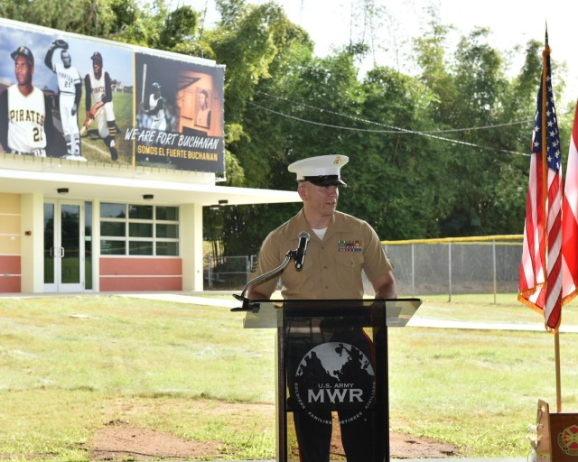 First Sergeant Jaime Alvarez, Senior Enlisted Advisor, U.S. Marine Corps Reserve, adresses attendees during the memorialization ceremony of the garrison's Physical Fitness Center Annex January 14, 2021, in honor of US Marine Corps Reserve Private First Class Roberto E. Clemente Walker. First Sergeant Alvarez highlighted the values that make a good Marine were deeply embedded in Roberto Clemente's life.