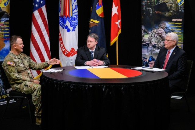 Gen. Paul E. Funk II, commanding general, U.S. Army Training and Doctrine Command (left), hosted retired Army Gen. Carter F. Ham, president and chief executive officer, Association of the United States Army (right), during a virtual leader professional development webinar, which was moderated by James Hoeft, TRADOC command information chief, that took place at Fort Eustis, VA, Jan. 13, 2021. The generals discussed Army values and ethics as they relate to leadership, recent national issues, and Operation Desert Storm during the one-hour session titled Ethical Leadership. The discussion was part of a series of live-streamed sessions on leadership and development with TRADOC leaders engaging a range of guests from different backgrounds.