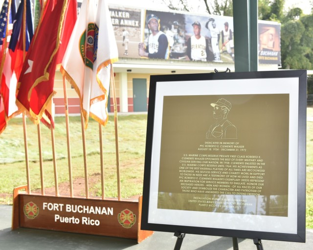 A framed copy of the facility's plaque was unveiled during the USAG Fort Buchanan memorialization ceremony of the garrison's Physical Fitness Center Annex January 14, 2021, in honor of US Marine Corps Reserve Private First Class Roberto E. Clemente Walker.