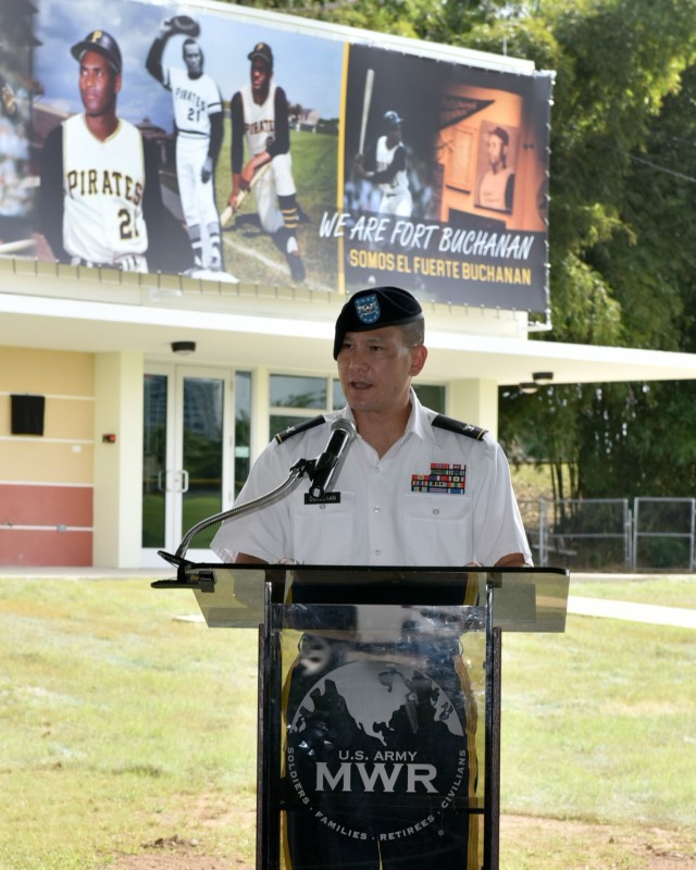 USAG Fort Buchanan Garrison Commander Col. Joseph B. Corcoran III, adresses attendees during the memorialization ceremony of the garrison's Physical Fitness Center Annex January 14, 2021, in honor of US Marine Corps Reserve Private First Class Roberto E. Clemente Walker.