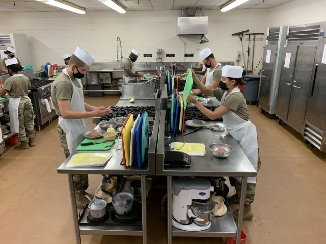Advanced individual training students at the U.S. Army Quartermaster School's Joint Culinary Center of Excellence prepare meat loaf as part of their course instruction here Dec. 15.