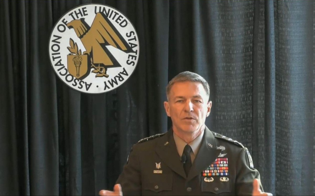 Army Chief of Staff Gen. James C. McConville speaks during an Association of the U.S. Army Noon Report in Arlington, Va., Jan. 19, 2021.