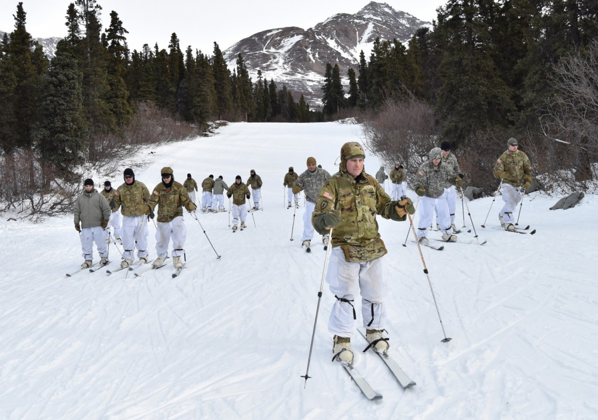 Soldiers practice cross-country ski techniques during a cold weather leaders course at the Northern Warfare Training Center, Alaska, March 6, 2019. Army Chief of Staff Gen. James C. McConville spoke about the Army's new Arctic strategy during an Association of the U.S. Army Noon Report in Arlington, Va., Jan. 19, 2021.