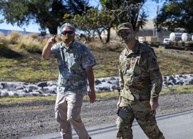 Parker Kaneakua, the chief logistics management specialist for the 402nd Army Field Support Battalion-Hawaii, explains the 402nd's breadth of responsibility and nuances associated with supporting the remote training area Pōhakuloa Training Area to visiting ASC commanding general Maj. Gen. Daniel Mitchell.