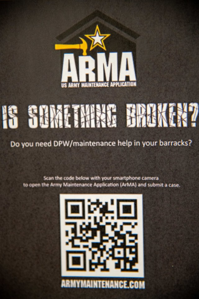 CAMP HUMPHREYS, Republic of Korea - The Army Maintenance Application will be advertised through housing locations throughout Humphreys by use of posters and images that include a QR code and a link to www.armymaintenance.com.  By accessing this link, Soldiers and family members living in the barracks and Army managed housing can register to directly submit work orders and maintenance requests to the Department of Public Works through digital means, ultimately giving them greater control over the management of their quality of life. (U.S. Army photo by Spc. Matthew Marcellus)
