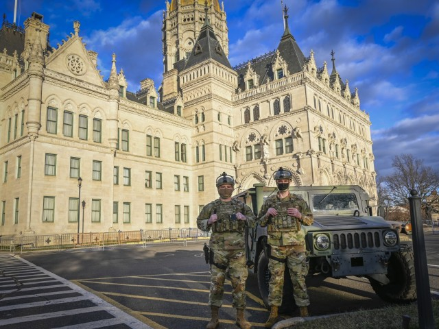 Connecticut Air National Guard Security Forces Airmen provide security support at the Connecticut State Capitol in Hartford, Connecticut, Jan. 17, 2021. The Connecticut National Guard provided additional security for critical infrastructure in support of local and state law enforcement ahead of the 59th Presidential Inauguration. (U.S. Air National Guard photo by Staff Sgt. Steven Tucker)