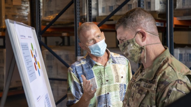 Randy Johnson from FEMA's Hawaii distribution center briefs Army Sustainment Command's commanding general Maj. Gen. Daniel Mitchell on the partnership FEMA has with the 402nd for storing disaster relief materials.