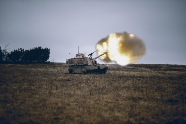 A crew with 2nd Battalion, 82nd Field Artillery, 3rd Armored Brigade Combat Team, 1st Cavalry Division take to the firing line during an eight-day long exercise to validate themselves on the Army's most up to date version of the Paladin self-propelled howitzer system, the M109A7, Fort Hood, Texas, Jan. 19, 2021. (U.S. Army photo by Sgt. Calab Franklin, 3rd Armored Brigade Combat Team, 1st Cavalry Division Public Affairs)