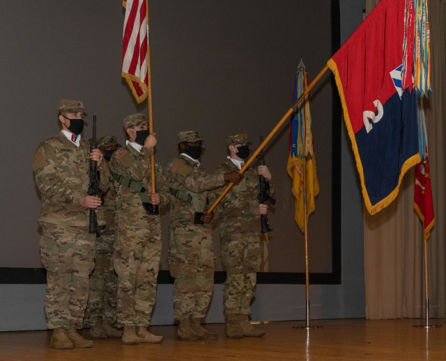 Soldiers from the 2nd Armored Brigade Combat Team, 3rd Infantry Division, stand at attention during a change of responsibility ceremony, Jan. 22, 2021, at Woodruff Theater on Fort Stewart, Georgia. (U.S. Army photo by Spc. Devron Bost)
