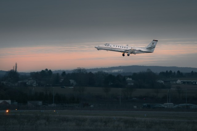 A UC-35 fixed-wing jet from the 12th Combat Aviation Brigade, Wings of Victory, takes off from Wiesbaden Army Airfield for a support mission to Romania on Jan. 14. (U.S. Army photo by Maj. Robert Fellingham)