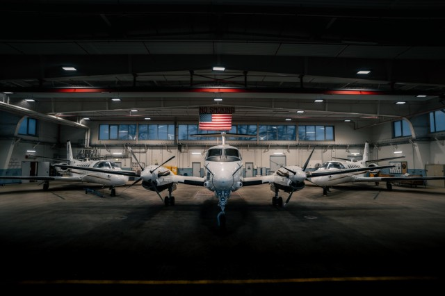 12th Combat Aviation Brigade fixed-wing aircraft are stored in their hangar overnight at Wiesbaden Army Airfield on Jan. 13. Army fixed-wing assets are critical to operations in Europe as they are often the only timely lifeline to more remote bases.