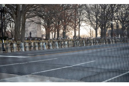 U.S. Soldiers and Airmen with the National Guard provide security around the U.S. Capitol Building prior to the 59th Presidential inauguration ceremony in Washington, D.C., Jan. 20, 2021. At least 25,000 National Guard men and women have been authorized to conduct security, communication and logistical mission in support of federal and District authorities leading up to and through the 59th Presidential Inauguration.