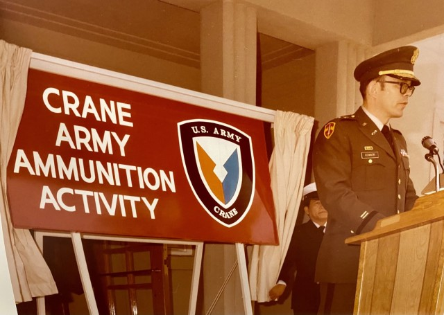 For more than four decades, Crane Army Ammunition Activity has been dedicated to providing conventional munitions support for U.S. Army and Joint Force readiness. Here Col. George H. Connor, Jr., Crane Army's first commander, speaks during a ceremony establishing CAAA in 1977. Crane Army has experienced incredible innovation over the years and supported the warfighter in all of our nation's conflicts since then. Crane Army is now one of 17 installations of the Joint Munitions Command and one of 23 organic industrial bases under the U.S. Army Materiel Command, which include arsenals, depots, activities and ammunition plants.