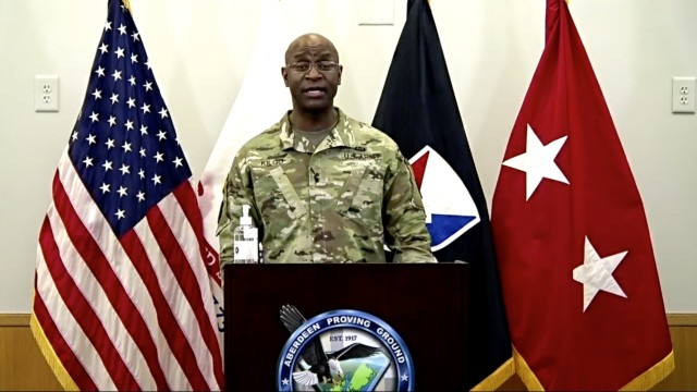 APG Senior Commander Maj. Gen. Mitchell Kilgo welcomes virtual attendees during a Dr. Martin Luther King Jr. Day Observance Jan. 19.