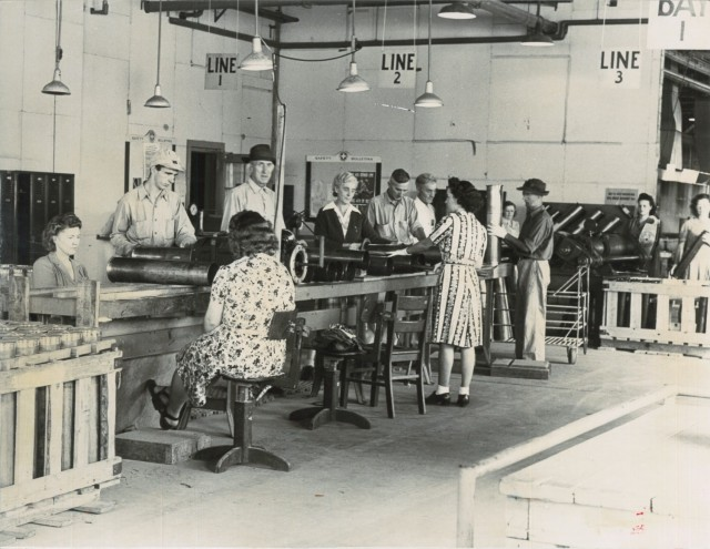 Crane Army Ammunition Activity inherited the legacy mission of ammunition manufacturing, storage and depot operations from the Navy in 1977 after the Department of Defense established the Army as the single manager for conventional ammunition at the conclusion of the Vietnam War. Pictured here are Crane Navy employees working on a munitions production line in 1942, just one year after Crane Naval Ammunition Depot was established during World War II. Crane Army's mission is to provide conventional munitions support for U.S. Army and Joint Force readiness. It is one of 17 installations of the Joint Munitions Command and one of 23 organic industrial bases under the U.S. Army Materiel Command, which include arsenals, depots, activities and ammunition plants.