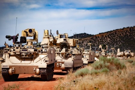 Modified Bradley Fighting Vehicles, known as Mission Enabling Technologies Demonstrators, and modified M113 tracked armored personnel carriers, or Robotic Combat Vehicles, were used for the Soldier Operational Experimentation (SOE) Phase 1 to further develop learning objectives for the Manned Unmanned Teaming (MUM-T) concept, Fort Carson, Colo., Dec. 15, 2020.