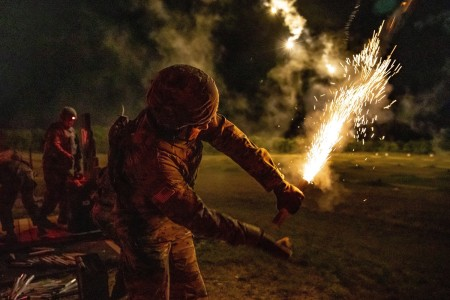 A U.S. Army Reserve cadre deploys pyrotechnic flares to illuminate the area on an M4 night fire range during the 2020 U.S. Army Reserve Best Warrior Competition at Fort McCoy, Wisconsin, Sept. 7, 2020.