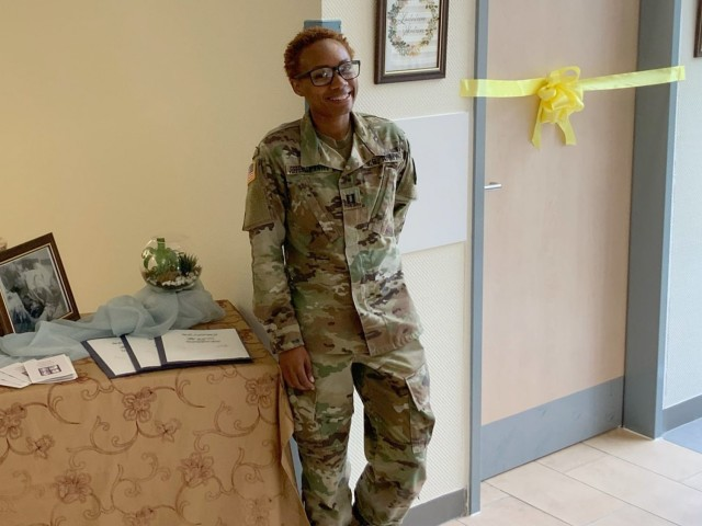 Capt. Ashley Jefferson-Watts, a clinical nurse and officer in charge of the primary care clinic at U.S. Army Health Clinic Grafenwoehr, poses for a photo at the ribbon cutting ceremony at the clinic's lactation room in Aug. 2020.