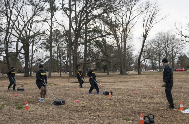 Soldiers who were previously ill or injured causing a lapse in physical fitness tests for record take part in their first experience with the new Army Combat Fitness Test, or ACFT, conducted by cadre assigned to the U.S. Army Training and Doctrine Command's Center for Initial Military Training, located at Fort Eustis, Virginia, Jan. 25, 2021.