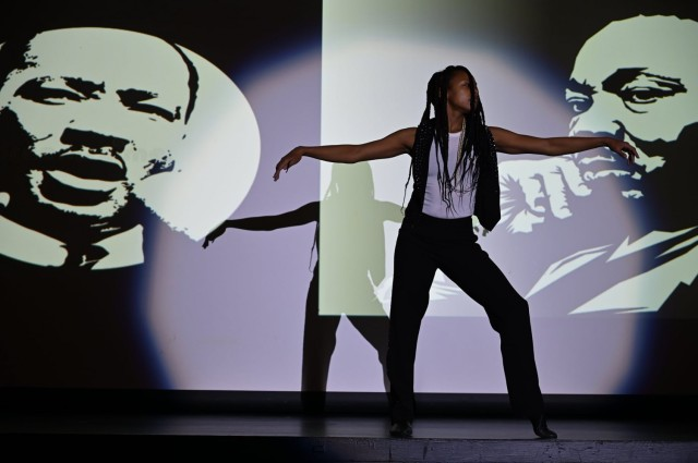 Ms. Bravita Threatt performs during the annual MLK observance at Fort Lee, Virginia.