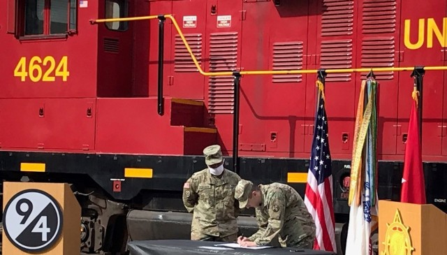 Leadership from the 94th Training Division - Force Sustainment and the Deployment Support Command conducted an Instructor Exchange Memorandum of Agreement Signing held at the U.S. Army Railway School and Center toward the end of 2020 at Fort Eustis, Virginia. This ceremony served as the kick-off event to allow 94th TD-FS instructors in the railway operations crewmember military occupational specialty an opportunity to be guest instructors with the 757th Expeditionary Railway Center.