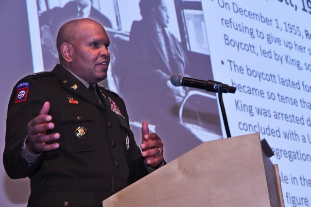 Lt. Gen. Leslie C. Smith, Army Inspector General, offers remarks during the annual MLK observance at Fort Lee, Virginia.