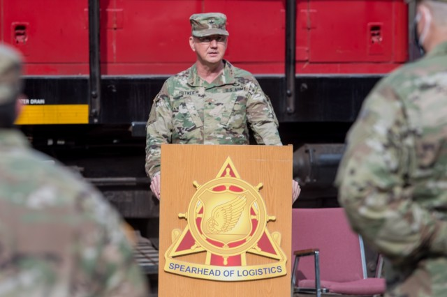 U.S. Army Brigadier General Stephen Rutner, commander of Deployment Support Command, gives remarks during a Memorandum of Agreement ceremony at Joint Base Langley-Eustis, Virginia, Nov. 6, 2020. The MOA was signed between the 94th Training Division (Force Sustainment) and the DSC. (U.S. Air Force photo by Senior Airman Derek Seifert)