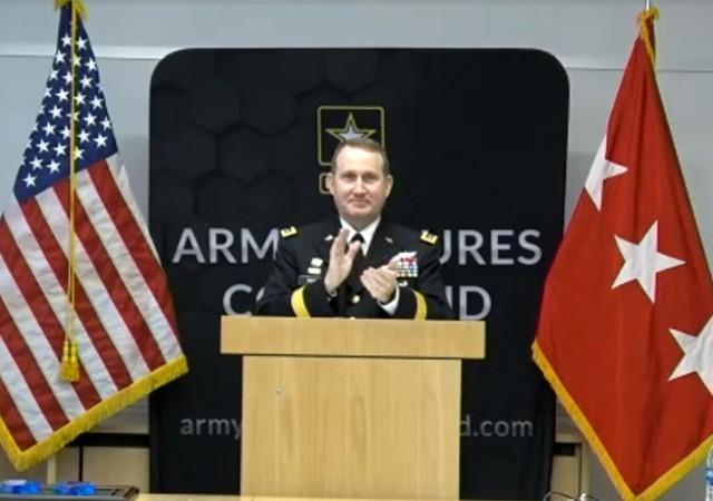 Lt. Gen. Thomas Todd, Army Futures Command deputy commanding general for Acquisition and Systems Management, congratulates the 2020 Maj. Gen. Harold J. Greene Awards for Innovation award winners during a virtual ceremony on Jan. 28, 2021.