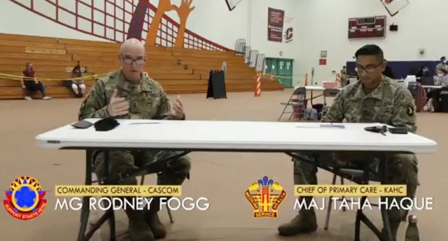 Maj. Gen. Rodney D. Fogg, CASCOM and Fort Lee commanding general, and Maj. Taha Haque, chief of Primary Care at Kenner Army Health Clinic, discuss various topics about the COVID-19 vaccine during the recording session for a PSA that will be featured in three parts on the CASCOM Facebook page, www.facebook.com/USACASCOM
