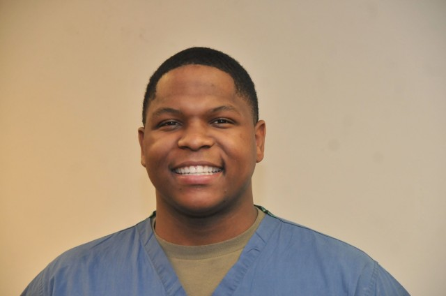 Spc. Andre Barnes is a 68E dental specialist assigned to the Fort Lee Dental Command.