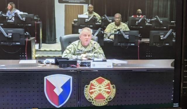 Lt. Gen. Douglas M. Gabram speaks to almost 1,000 personnel regarding the Stalwart Awards, Jan. 28.