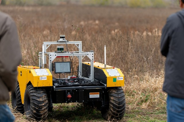 Army researchers developed RELLIS-3D, a novel dataset that provides the resources needed to develop more advanced algorithms and new research directions to ultimately enhance autonomous navigation in off-road environments. Shown here is the warthog at an autonomous vehicle demo on one of RELLIS' off-road testing areas.