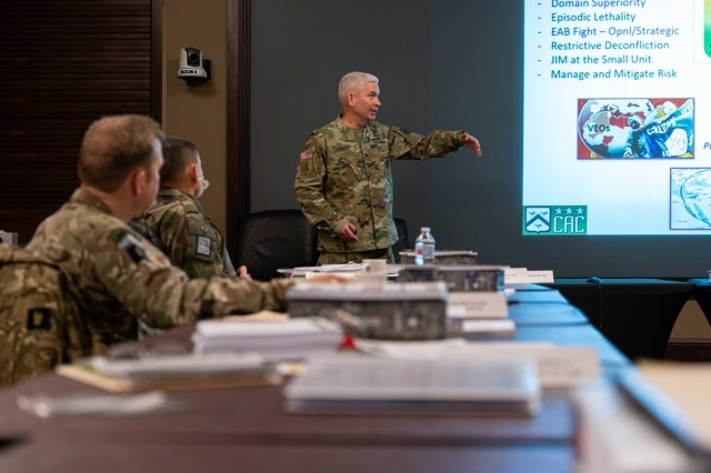 Col. Richard Creed (center), U.S. Army Combined Arms Doctrine Directorate, instructs general officers attending the Army Strategic Education Program-Command (ASEP-C) course at the Lewis and Clark Center, Fort Leavenworth, Kansas, Jan. 25, 2021. The ASEP-C course is designed for general officers selected for one and two star command assignments to develop and enhance their leadership capabilities. (U.S. Army photo by Audrey Chappell)