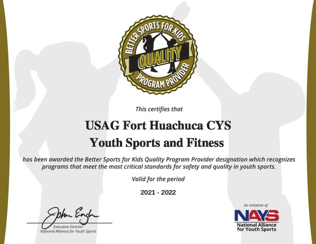 CYS Youth Sports, Fitness receives quality program provider designation