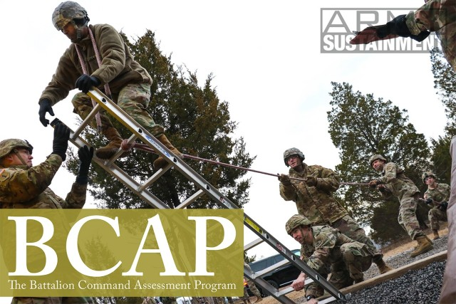 Candidates from cohort 5 attempt to traverse an obstacle at the Leader Reaction Course during the Battalion Commander Assessment Program January 23, 2020, at Fort Knox, Ky. More than 800 officers will complete cognitive and non-cognitive, physical, verbal and written assessments that will provide a more holistic look of an officer before being selected for battalion command.