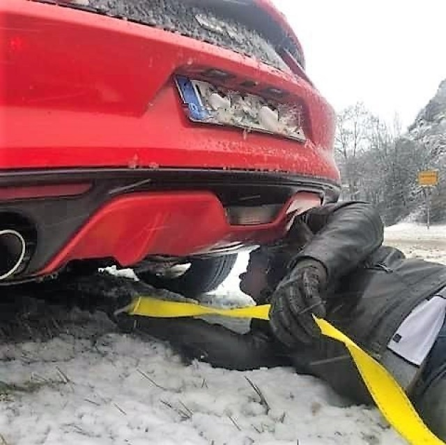 Spc. Jeffrey Cumbie, a 68E dental specialist assigned to the Baumholder Army Dental Clinic answered the call in late January to rescue a total of six vehicles and their occupants who had become stranded on snow covered roads off post.