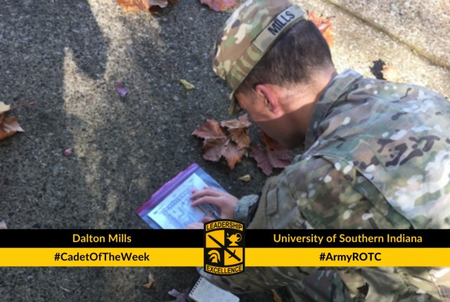 Cadet Dalton Mills participating in Land Navigation during an Army ROTC lab at the University of Sou